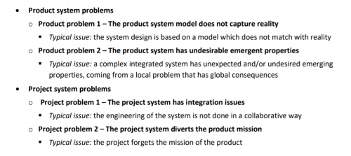 Typical examples of product and project issues table
